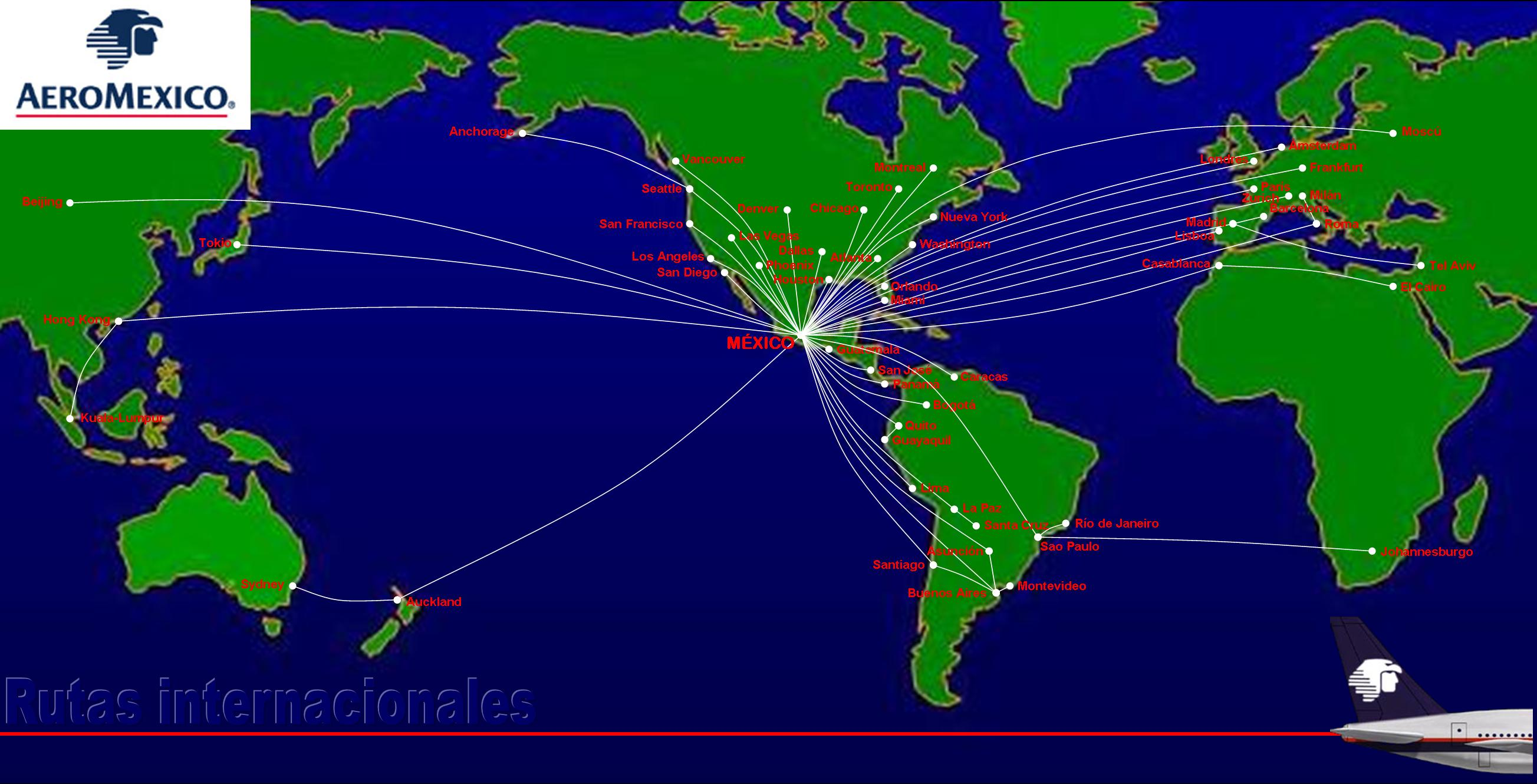 Global coverage by AeroMexico Airlines